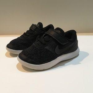 Nike Flex Contact Gym Shoes Black Gray Toddler 10c